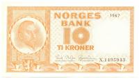 Billete de Noruega 10 Kroner de 1967 - Numisfila