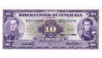 Bello Billete 10 Bolívares 1963 N7 Serial N3520291 - Numisfila