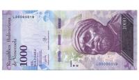 Billete 1000 Bolivares 2017 Serial Bajo L00000019 - Numisfila