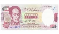 Billete 1000 Bolívares 1991 Serial A38618072 - Numisfila