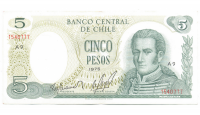 Billete Chile 5 Pesos 1975 J. M. Carrera - Numisfila