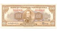 Billete 100 Bolívares Julio 1952 Buen D7 Serial D1146436 - Numisfila