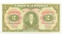 Billete Colombia 2 Pesos Oro 1955 Camilo Torres - Numisfila