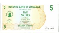 Billete Zimbabwe 5 Dolares 2006 - Numisfila
