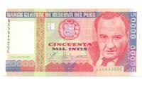 Billete de Perú 50.000 Intis de 1988 - Numisfila