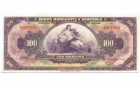 Billete 100 Bolivares Bco Mercantil y Agricola Serial 093269 - Numisfila