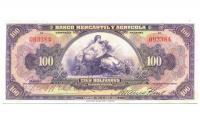 Billete 100 Bolivares Bco Mercantil y Agricola Remainder - Numisfila