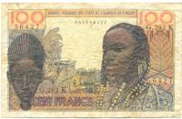 Billete de Africa del Este, 100 Francs de 1959 - Numisfila