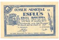 Billete de Emergencia Guerra Civil Española, Consejo Municipal de Esplus 1 Peseta 1937 - Numisfila