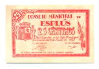 Billete de Emergencia Guerra Civil Española, Consejo Municipal de Esplus 25 Centimos 1937 - Numisfila