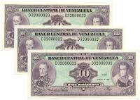 Seriales Bajos 3 Billetes 10 Bs 1986 Consecutivos 31, 32 y 33 - Numisfila