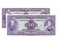 Billetes 10 Bolívares 1973 P8 Seriales P10022220-P10022221 - Numisfila