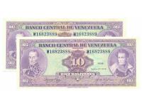 Billetes 10 Bs 1976 M8 Seriales M16823888 y M16823889 - Numisfila