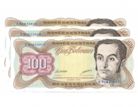 3 Billetes 100 Bolívares 1998 Capicúa K80633608 y Consecutivos - Numisfila