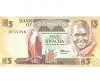 Billete Zambia 5 Kwacha 1980 - 1988 - Numisfila