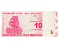 Billete Zimbabwe 10 Dolares 2009 - Numisfila