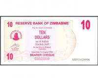 Billete Zimbabwe 10 Dolares 2007 - Numisfila