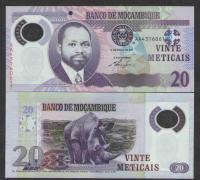 Billete Plastico Mozambique 20 Meticais de 2011 Rinoceronte - Numisfila