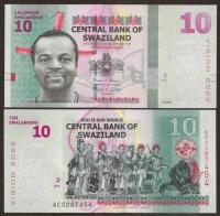 Billete Suazilandia 10 Emalangeni 2015 - Numisfila