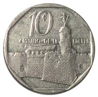 Moneda Cuba 10 Centavos 1994 Castillo de la Fuerza - Numisfila