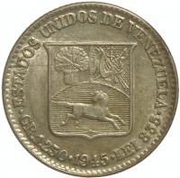Moneda plata ¼ de Bolivar - Medio 1945 - Numisfila