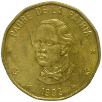 Moneda Republica Dominicana 1 Peso 1992 Juan P Duarte - Numisfila