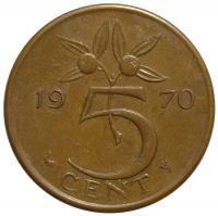 Moneda Holanda 5 Centavos 1952-1980 - Numisfila
