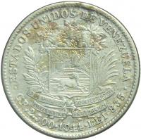 Moneda ½ Bolívar 1944 - Bolívar Acentuado 50 céntimos - Numisfila