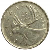 Moneda Canada 25 Centavos 1968-1977 Caribu - Numisfila