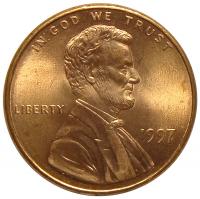 Moneda Estados Unidos 1 Centavo 1997 P Lincoln - Numisfila
