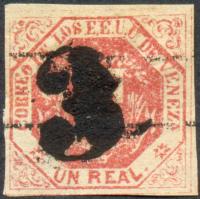 """Estampilla 1876/1877 - 1 Real con Cancelación numeral """"3"""" - Numisfila"""