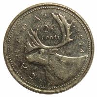 Moneda Canada 25 Centavos 1990-1996 Caribu - Numisfila