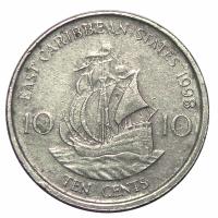 Moneda Caribe del Este 10 Centavos 1998-2000 - Numisfila