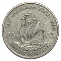 Moneda Caribe del Este 25 Centavos 1981-2000 Elizabeth ll - Numisfila