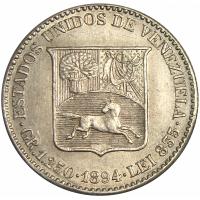 Moneda Plata ¼ de Bolivar - Medio 1894 - Numisfila