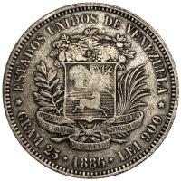 Buen Fuerte Moneda 5 Bolivares 1886 2do 8 Bajo - Numisfila