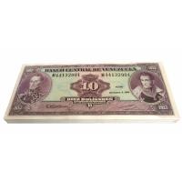 Paca 100 Billetes 10 Bolívares 1992 M8 Seriales M44132901 - M44133000 - Numisfila