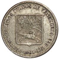 Escasa Moneda ¼ Bolívar - Medio 1901 - Numisfila