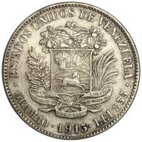 Difícil Moneda de Plata 2 Bolívares 1913 Fecha Normal - Numisfila