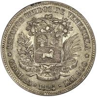 Excelente Moneda 5 Bolívares 1924 Variante 9 Bajo - Numisfila