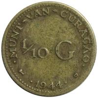 Moneda Curazao 1/10 Gulden 1944-47 Wilhelmina - Numisfila