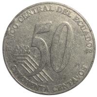 Moneda Ecuador 50 Centavos 2000 Eloy Alfaro - Numisfila