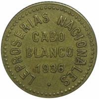 Ficha Leproserias Cabo Blanco 0,50 Bolivares 1936 - Numisfila