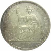 Moneda Plata Indochina Francesa 1 Piastre 1895 - Numisfila