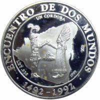 Moneda Plata Nicaragua Córdoba 1991 Encuentro Dos Mundos - Numisfila