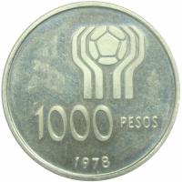 Moneda Plata Argentina 1000 Pesos 1978 Copa Futbol - Numisfila