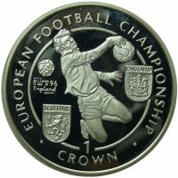 Moneda Plata Isla Man 1 Crown 1996 Futbol Campeonato Europeo - Numisfila