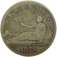 Moneda España 2 Pesetas 1870 Madrid - Numisfila
