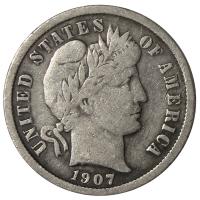 Moneda Plata E.E.U.U. One Dime 1907 10 Centavos - Numisfila