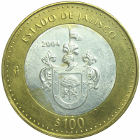 Moneda 100 Pesos Plata Mexico 2004 Jalisco - Numisfila